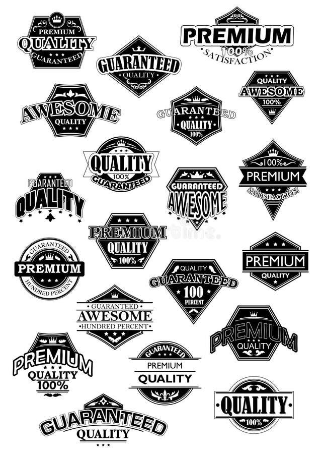 Etiquetas retras blancos y negros de la calidad libre illustration