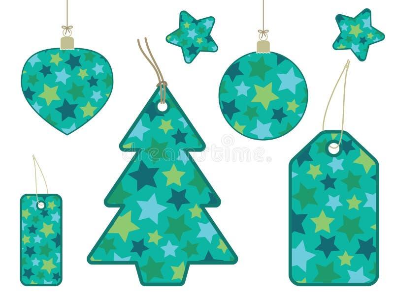 Etiquetas retras del regalo de la estrella stock de ilustración