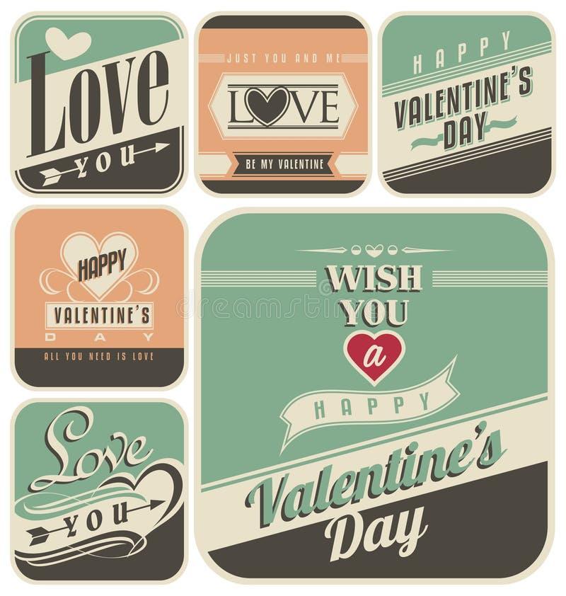 Etiquetas retras para el día de tarjetas del día de San Valentín stock de ilustración