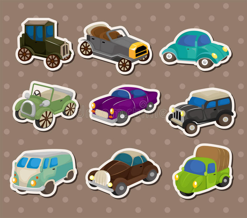 Etiquetas retros do carro ilustração stock