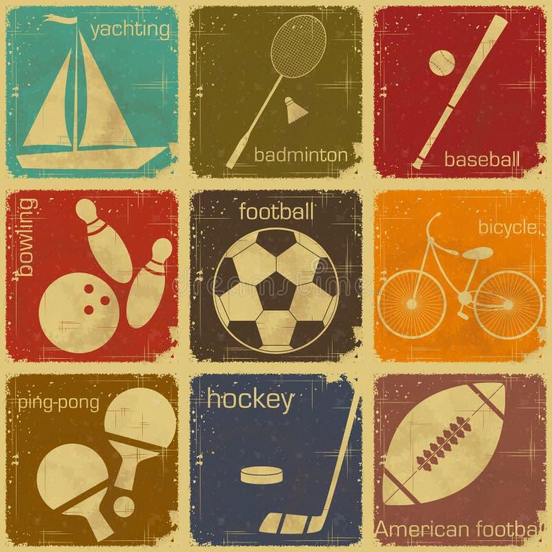 Etiquetas retros do esporte ilustração stock