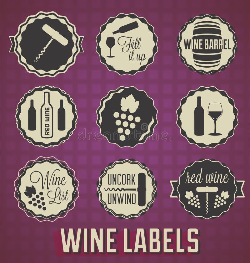 Etiquetas retros e ícones do vinho do estilo ilustração stock