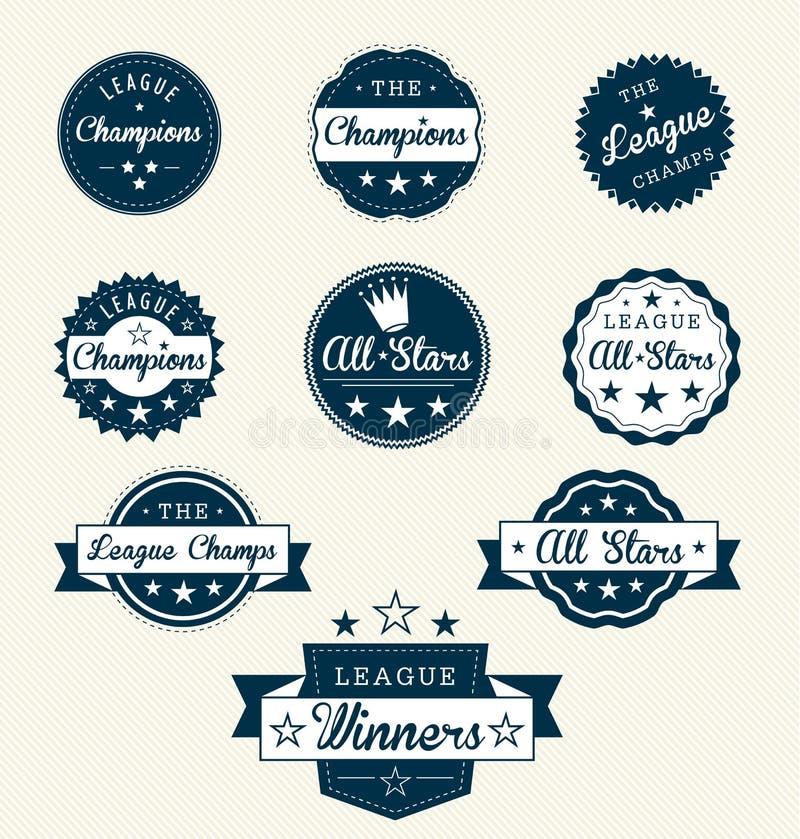 Etiquetas retros e etiquetas do campeão da liga ilustração royalty free