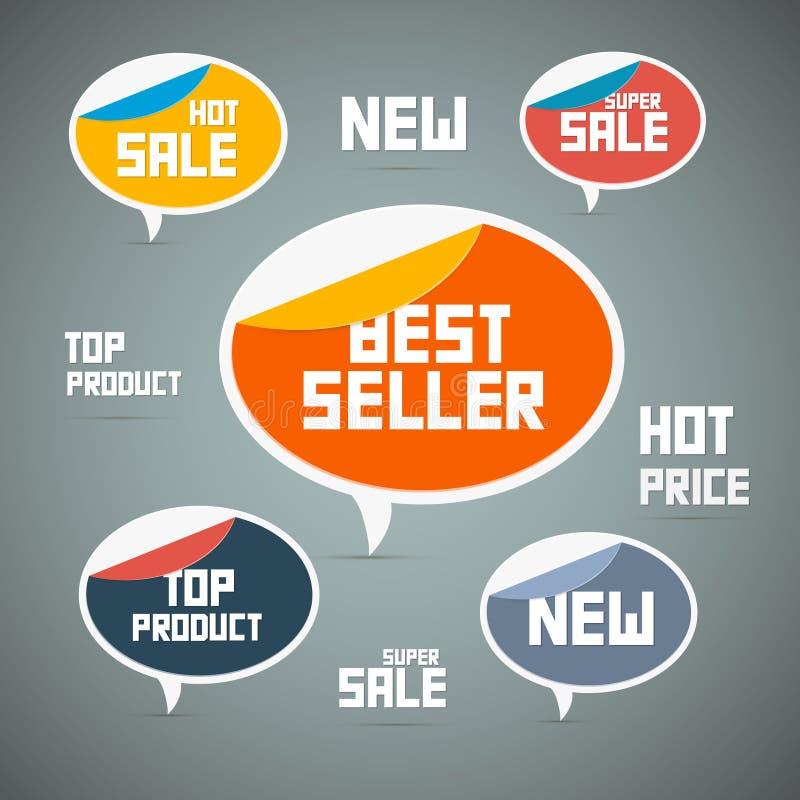 Etiquetas retros, etiquetas. O melhor vendedor, venda nova, super ilustração do vetor