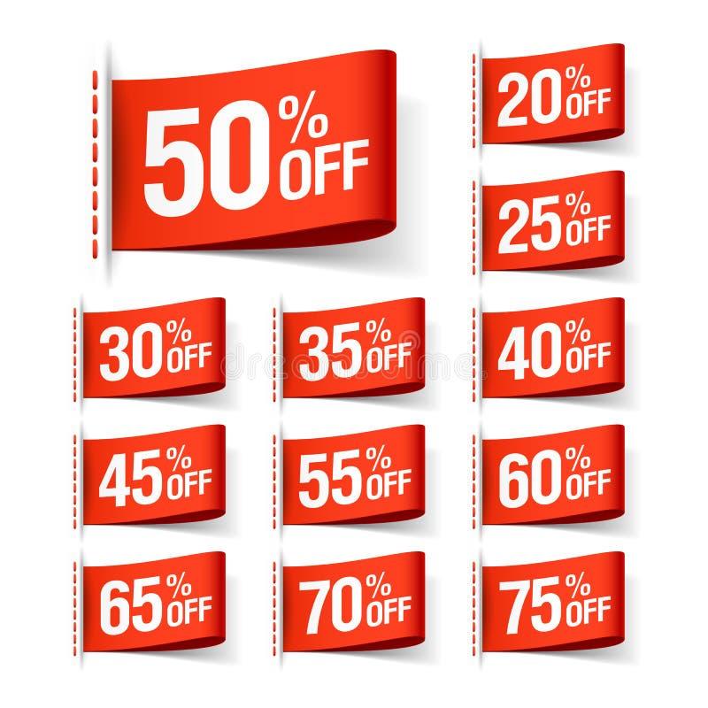 Etiquetas rojas de la venta del descuento ilustración del vector