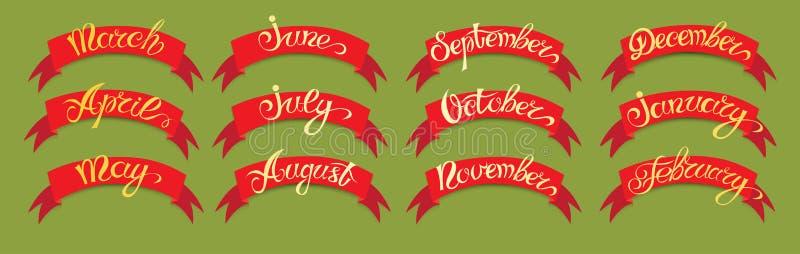 Etiquetas rojas determinadas con las letras a mano en bacground verde, meses de nombres del año libre illustration