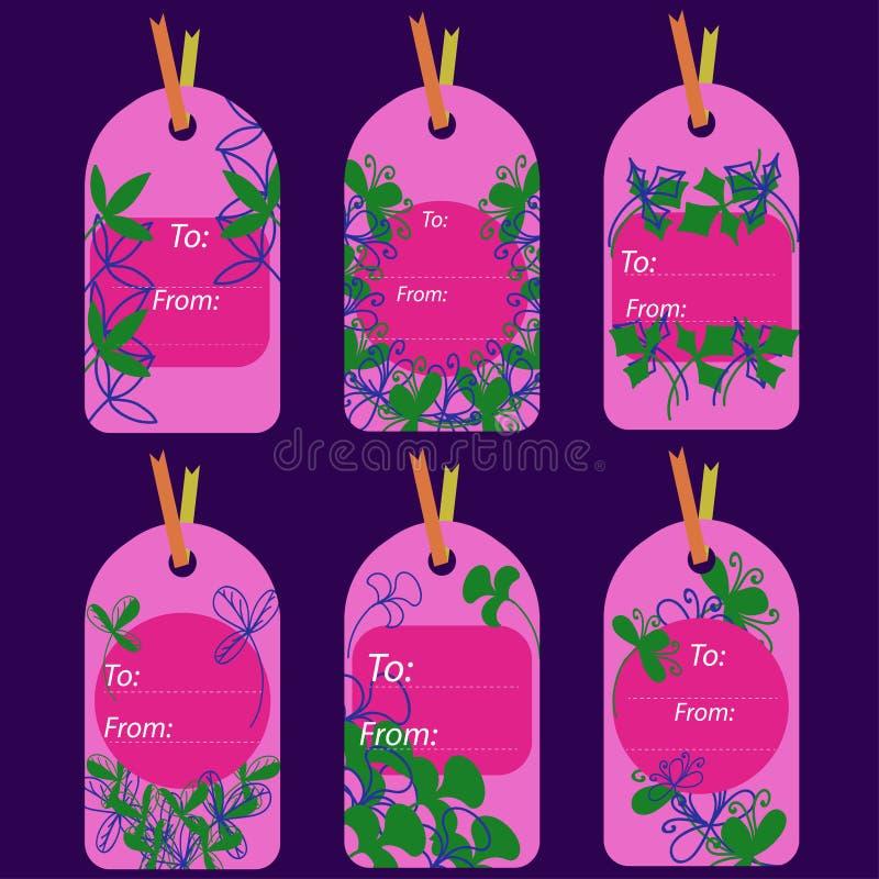 Etiquetas rosadas con las plantas abstractas de colores azules y verdes ilustración del vector