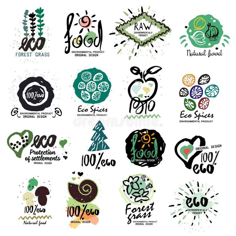 Etiquetas sanas del alimento biológico para el logotipo de los vegetarianos Restaurante, muestra vegetariana del menú del café, s stock de ilustración