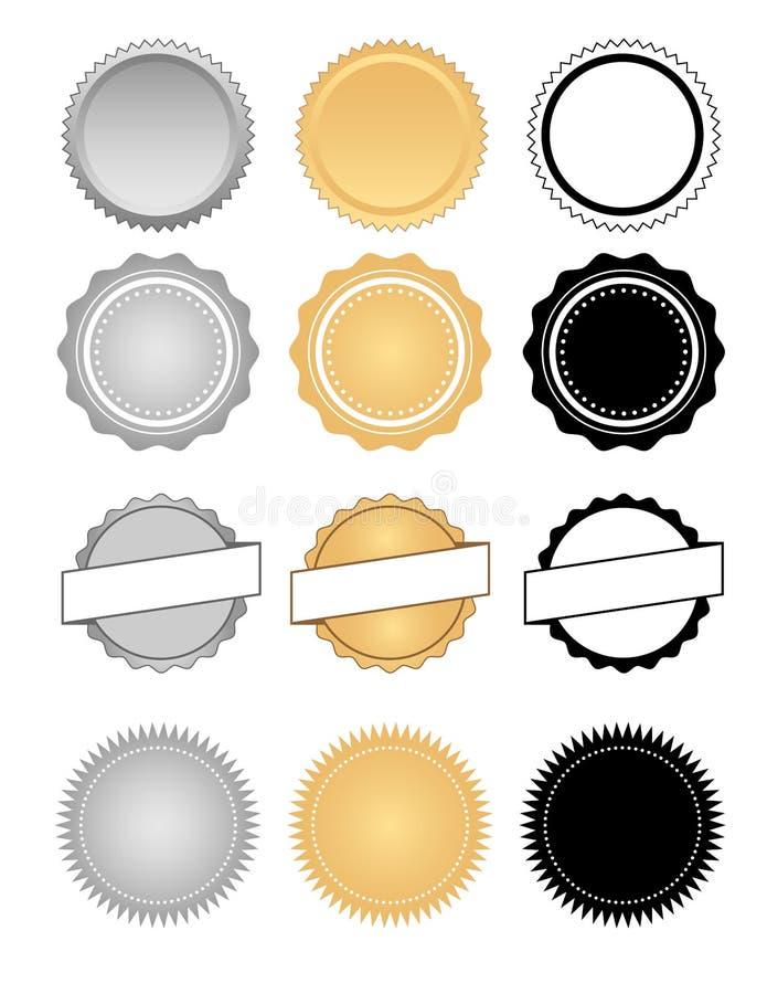 Etiquetas, selos, crachás e grupo do emblema da cera ilustração do vetor