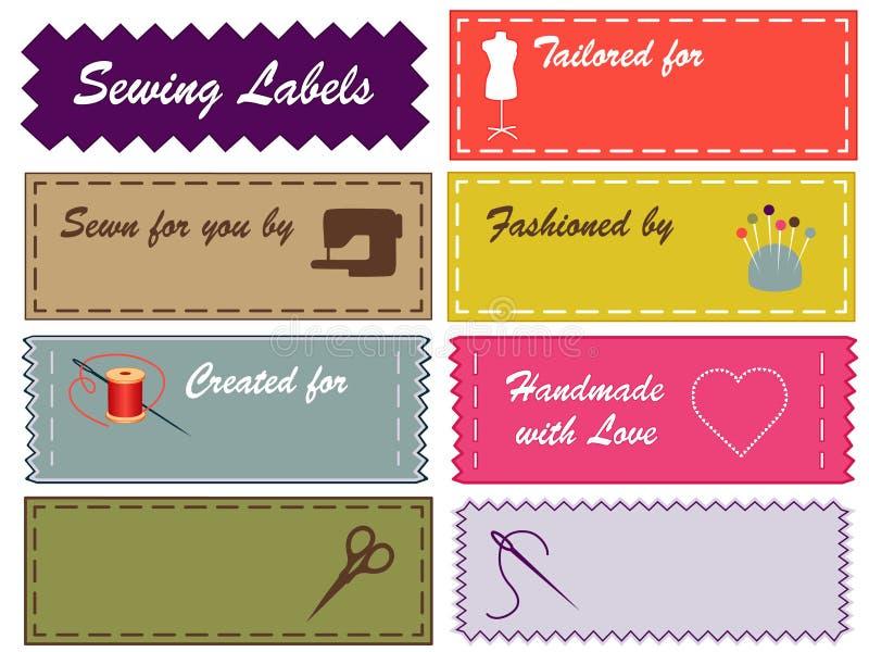 Etiquetas Sewing, cores de Pantone ilustração stock
