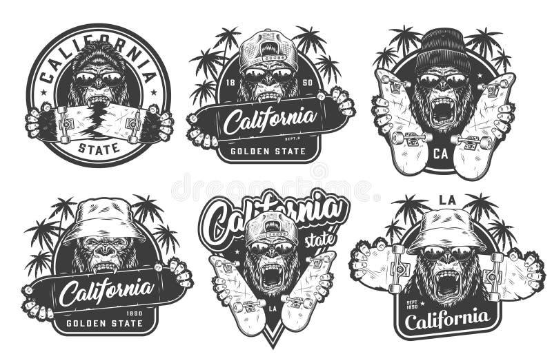 Etiquetas skateboarding do verão monocromático do vintage ilustração royalty free