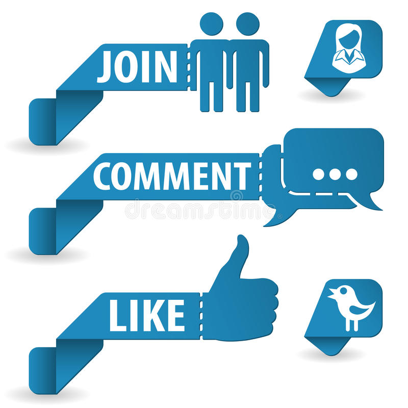 Etiquetas sociais dos media ilustração do vetor