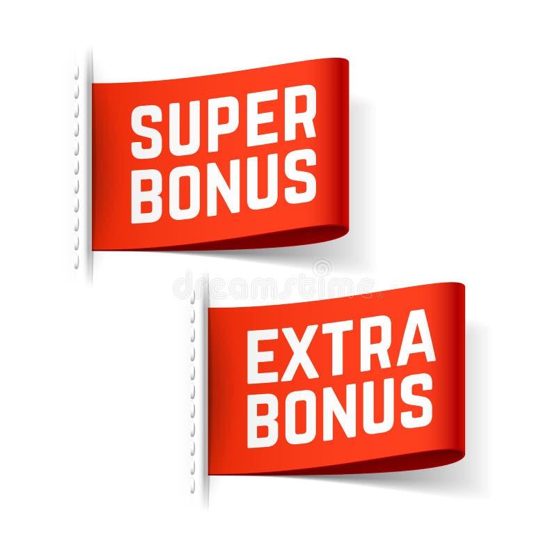 Etiquetas super e extra do bônus ilustração royalty free