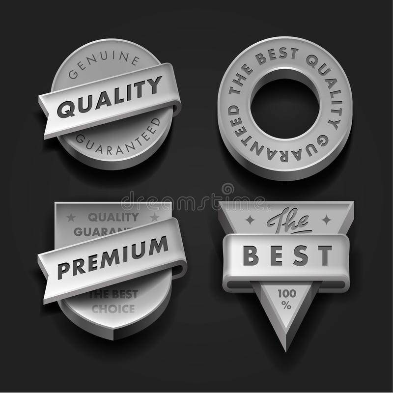 Etiquetas superiores ajustadas da qualidade e da garantia ilustração royalty free