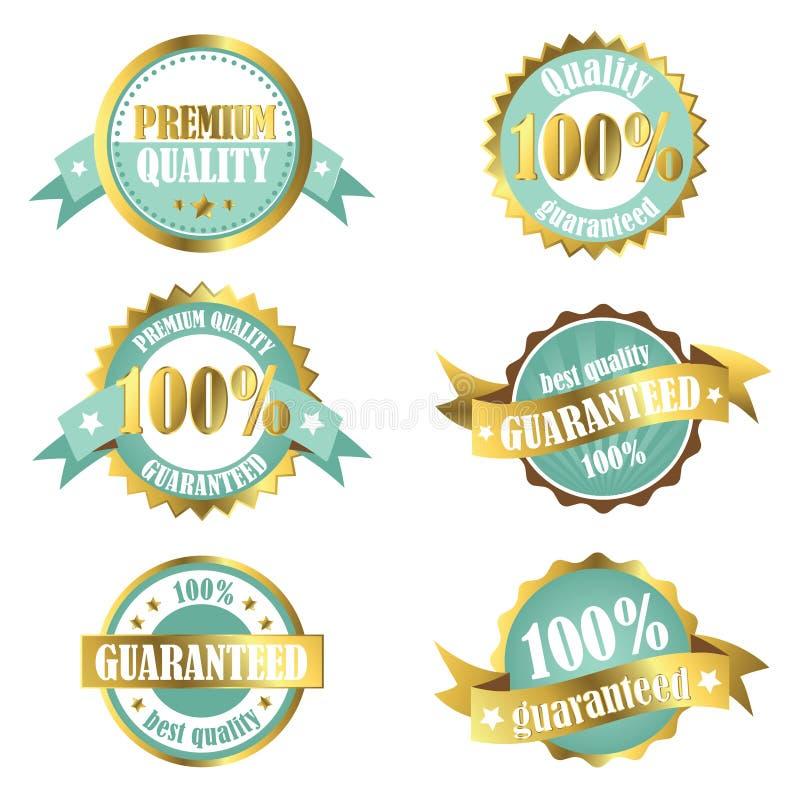 Etiquetas superiores da garantia de qualidade do ouro ilustração royalty free