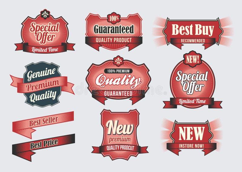 Etiquetas superiores da qualidade & da garantia ilustração stock