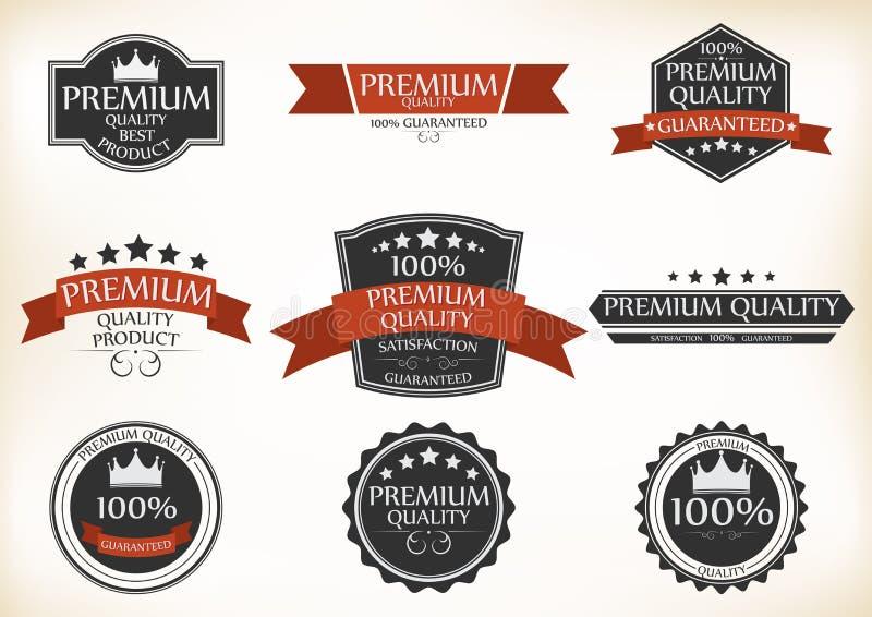 Etiquetas superiores da qualidade e da garantia com estilo retro do vintage ilustração royalty free