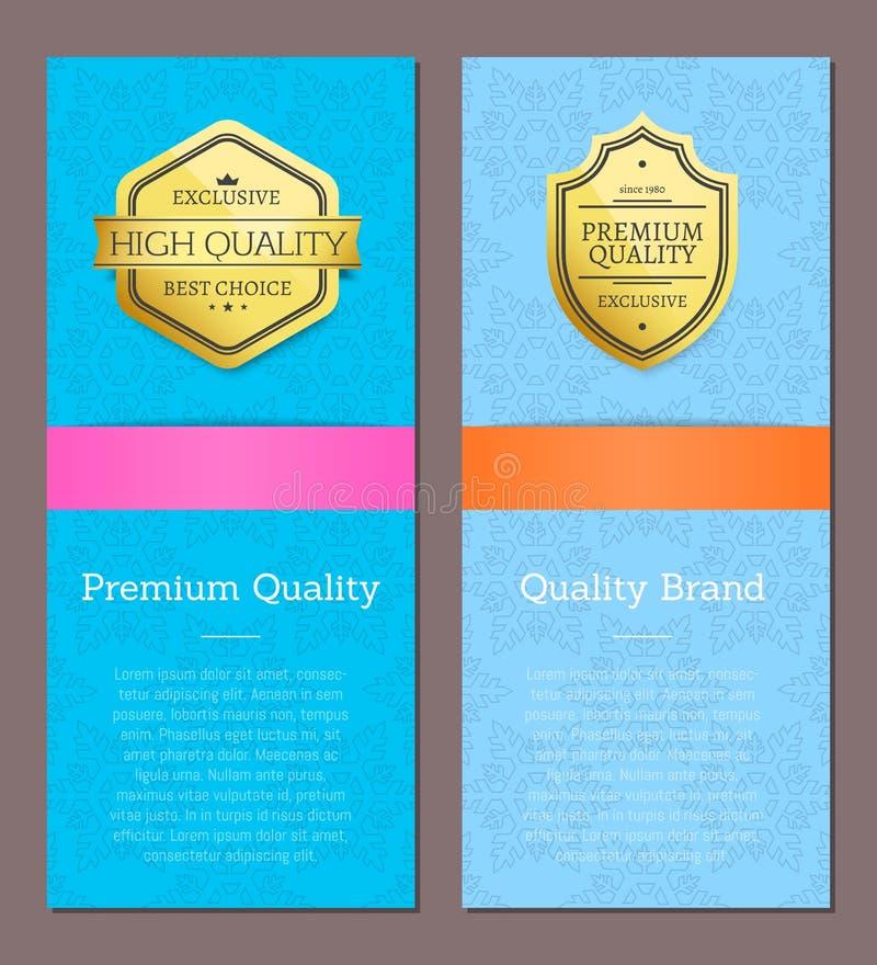 Etiquetas superiores do Promo da verificação da parte alta da faixa da qualidade ilustração royalty free