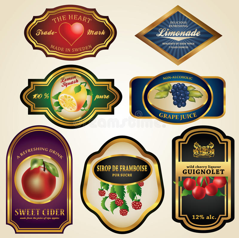 Etiquetas superiores do suco e do álcool de fruta ilustração royalty free
