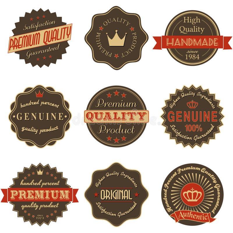 Etiquetas superiores do vintage da qualidade ilustração stock