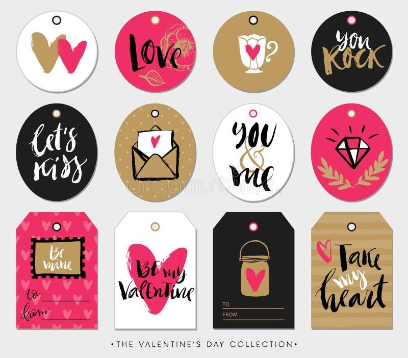 Etiquetas, tarjetas y etiquetas engomadas del regalo del día de tarjetas del día de San Valentín con caligrafía libre illustration