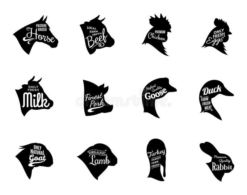 Etiquetas tipográficas de la carne de los iconos de los animales del campo libre illustration