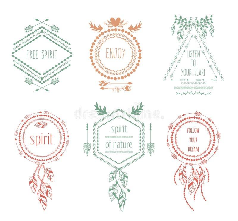 Etiquetas tribales del inconformista de Boho stock de ilustración