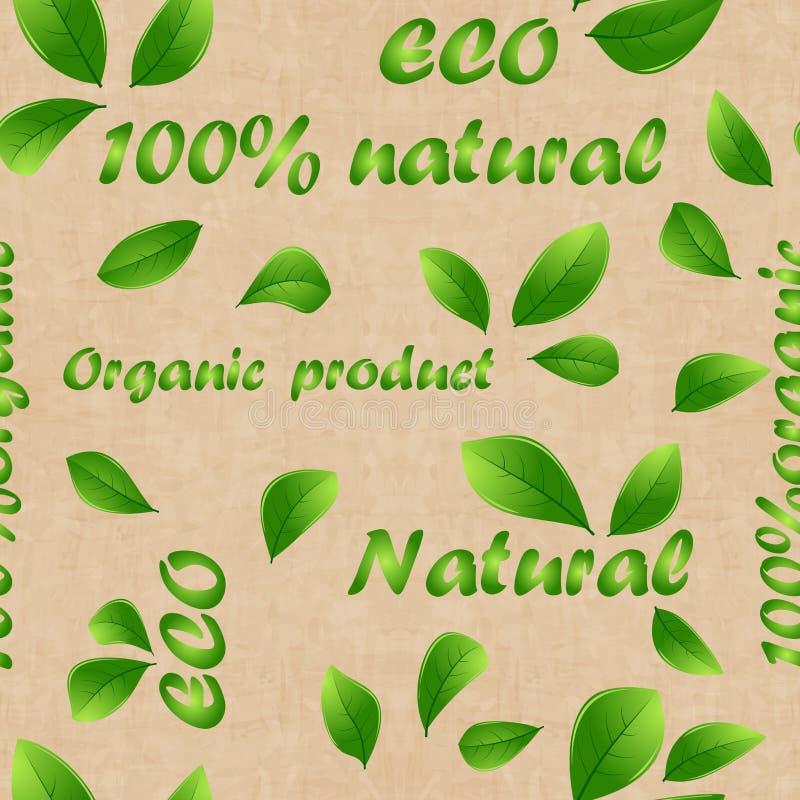 Etiquetas verdes da loja do produto, teste padr?o do vegetariano para bandeiras e cartazes molde Folhas e inscri??o verdes Textur ilustração royalty free