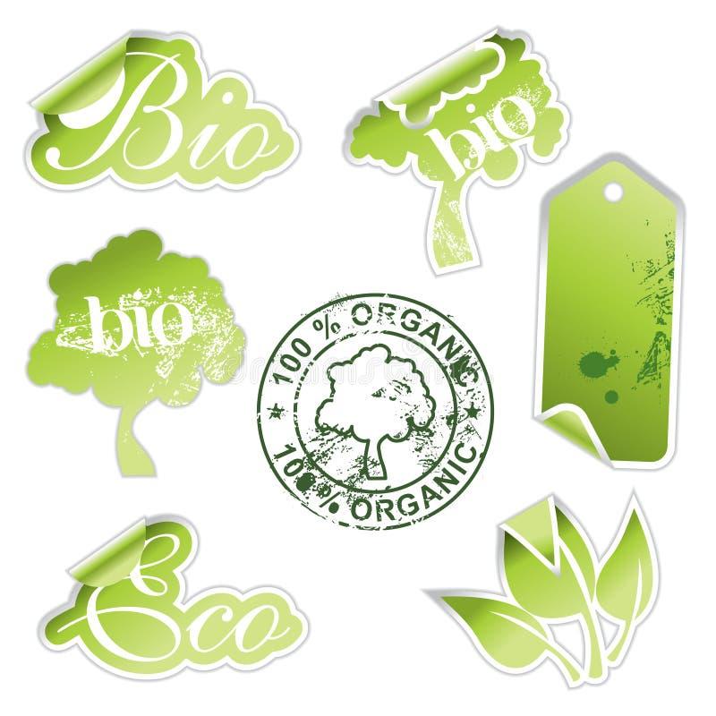 Etiquetas verdes do eco ilustração do vetor