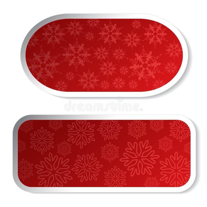 Etiquetas vermelhas de papel do Natal - etiquetas para anunciar ilustração stock