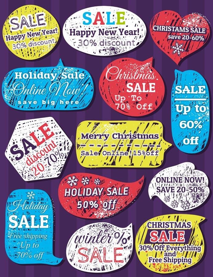 Etiquetas y banderas para la Navidad ilustración del vector