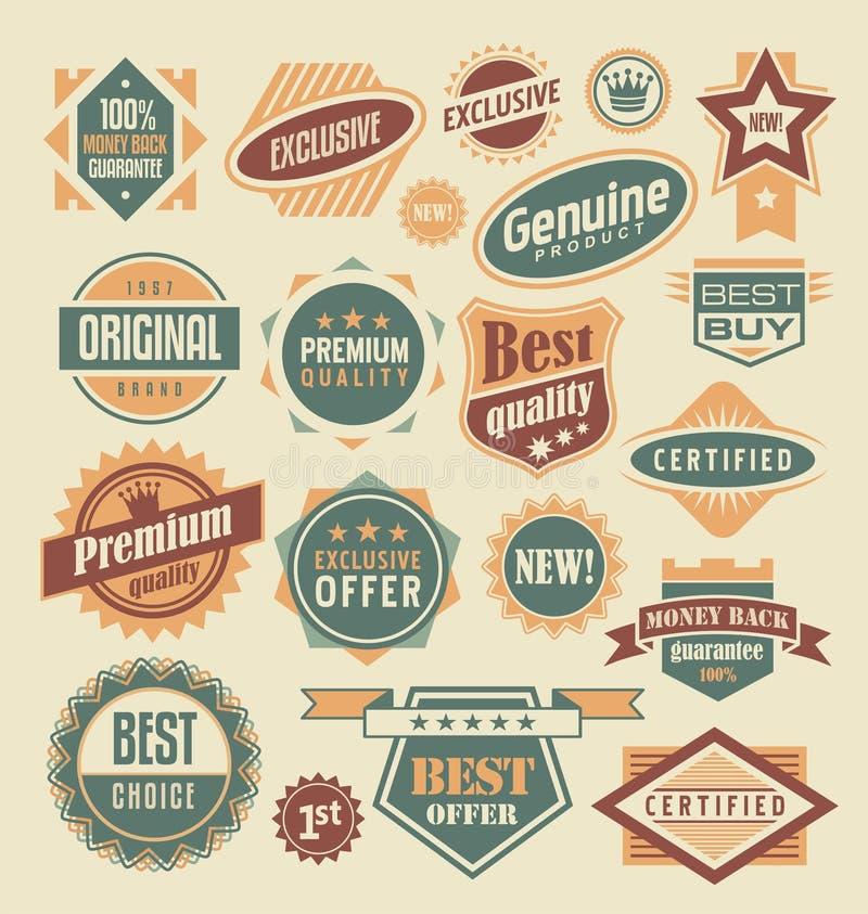 Etiquetas y colección retras de las etiquetas engomadas ilustración del vector