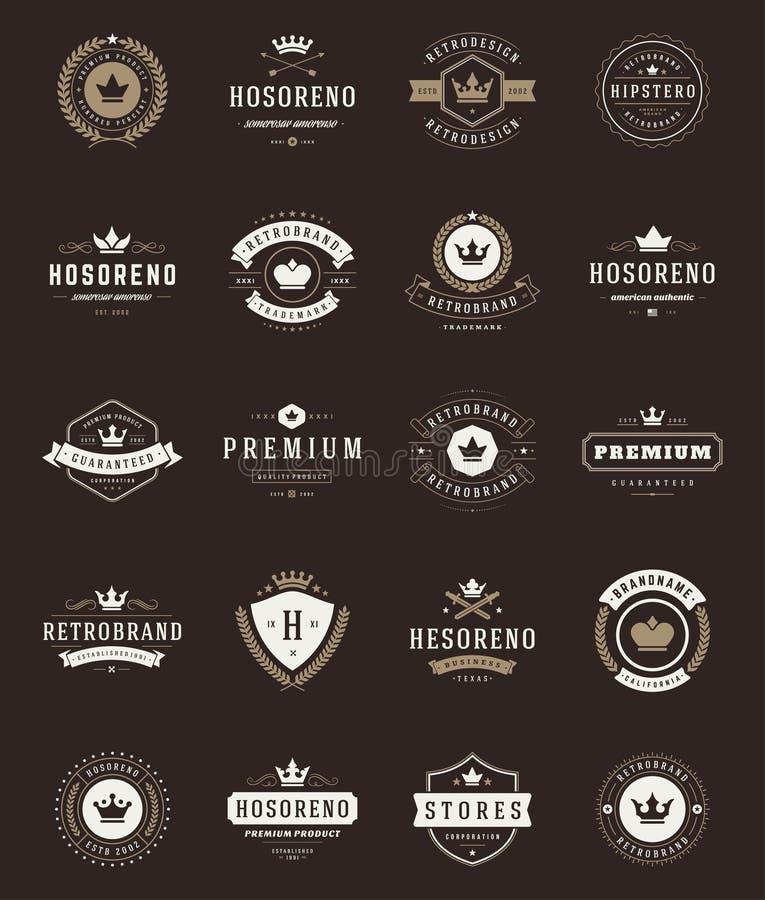 Etiquetas y coronas superiores de la calidad del vintage retro stock de ilustración