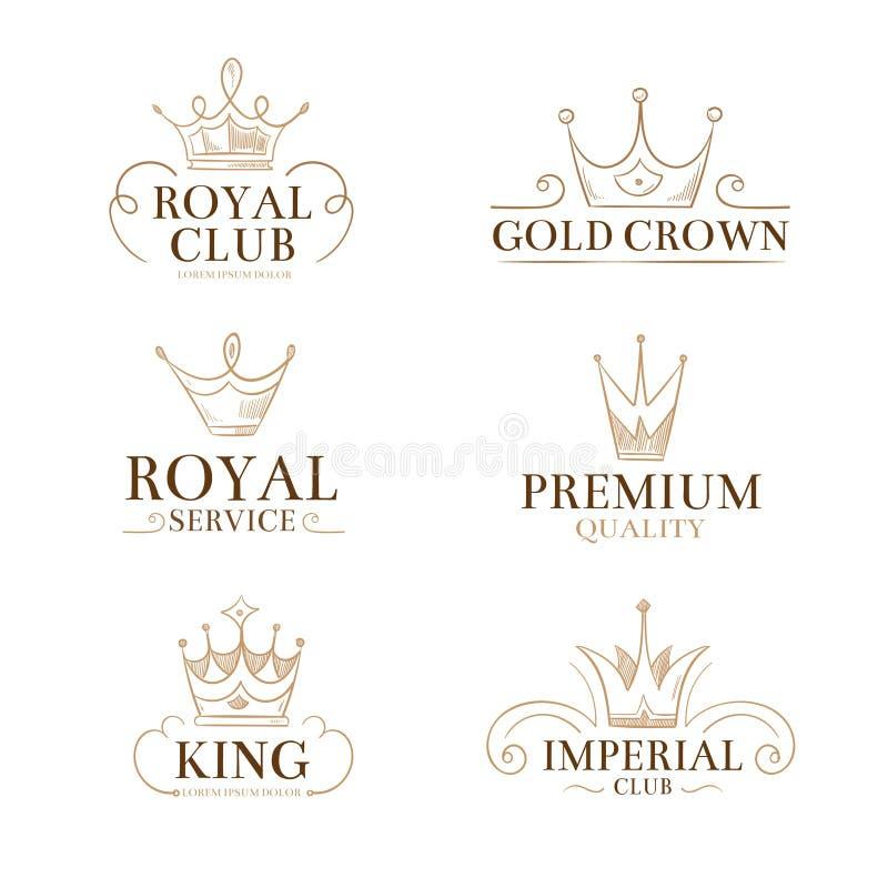 Etiquetas y logotipos del vector de la princesa del vintage con las coronas stock de ilustración