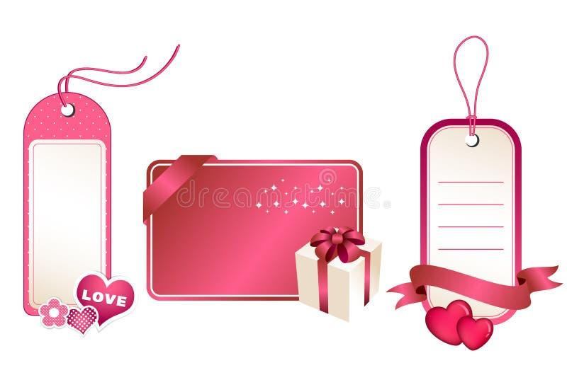 Etiquetas y tarjeta del regalo ilustración del vector