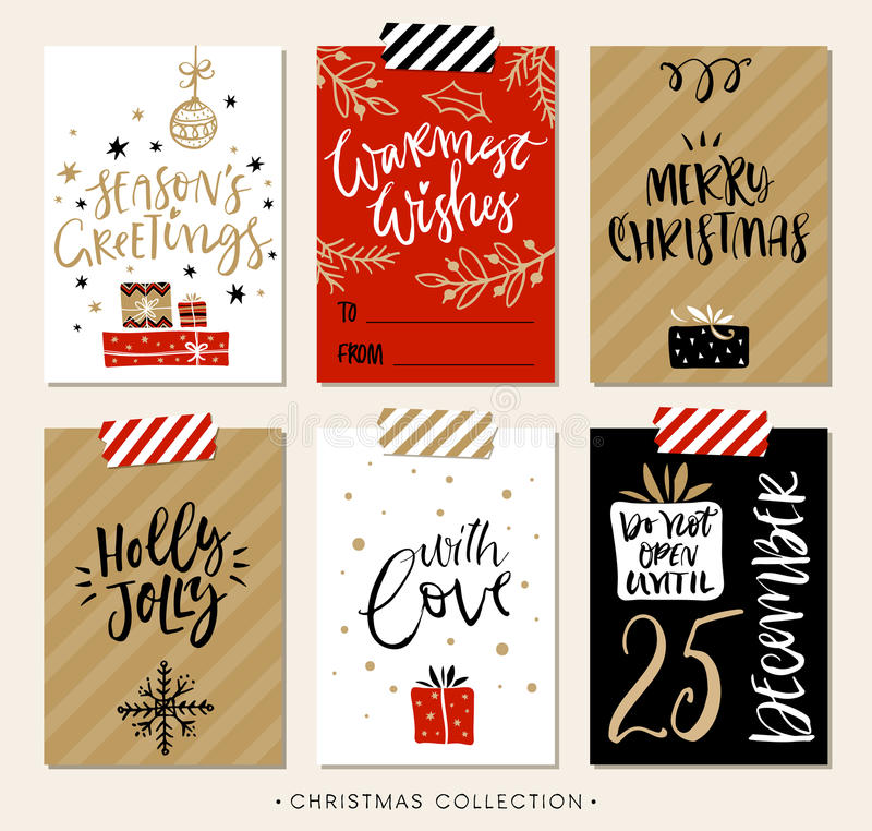 Etiquetas y tarjetas del regalo de la Navidad con caligrafía ilustración del vector