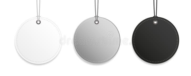 Etiquete a coleção de suspensão cinzenta e branca preta da etiqueta isolada ilustração stock