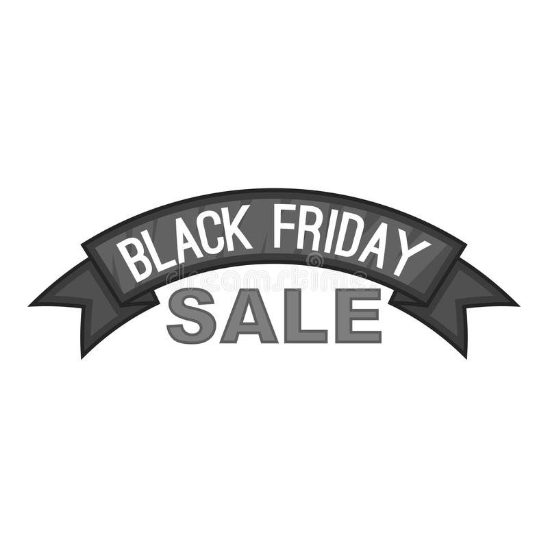 Etiquete el semicírculo icono negro de la venta de viernes stock de ilustración
