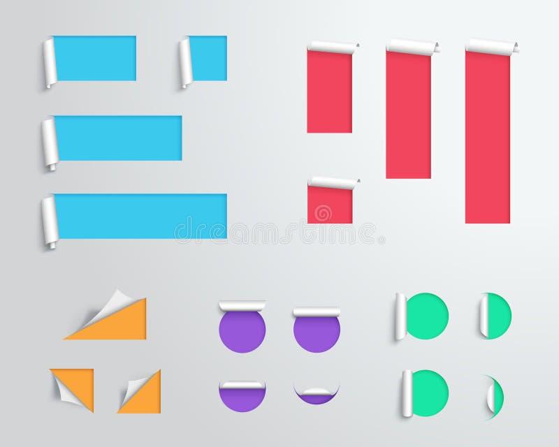 Etiquete la papiroflexia 3d colorido en blanco plantilla grande del vector ilustración del vector