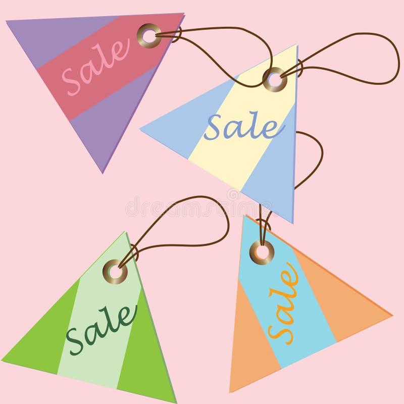 Etiquete los precios de diversa forma del triángulo de los colores stock de ilustración