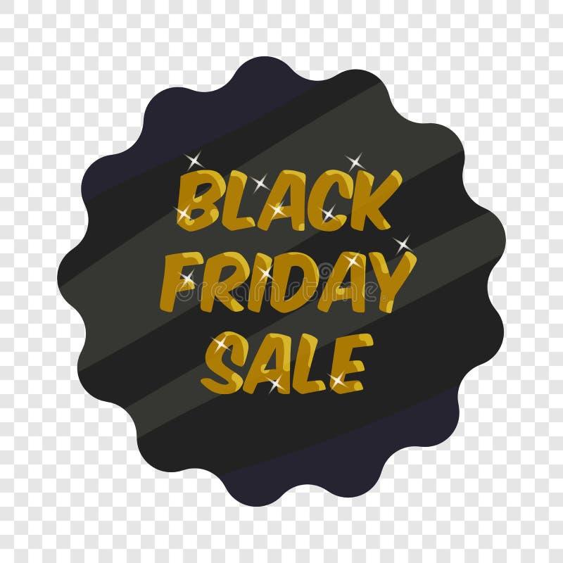 Etiquete o ?cone preto da venda de sexta-feira, estilo dos desenhos animados ilustração do vetor