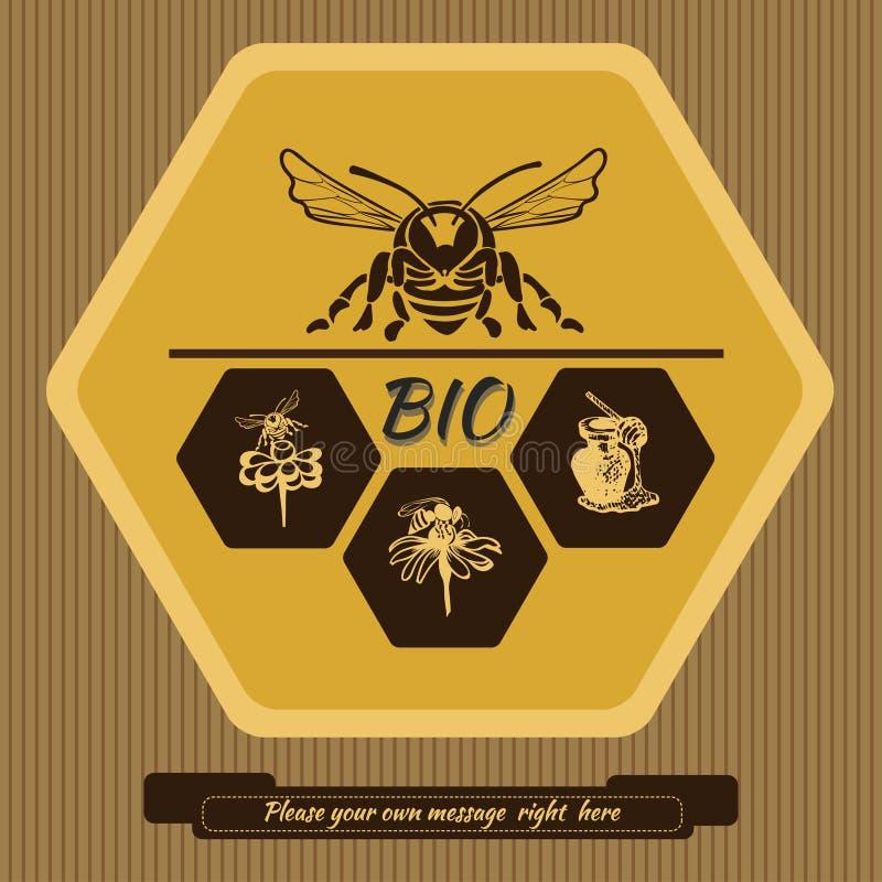 Etiquete o logotipo para anunciar e vender o mel 1 imagens de stock royalty free
