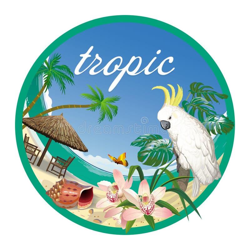 Etiquete o trópico com praia, palmeiras e a cacatua branca do papagaio ilustração stock