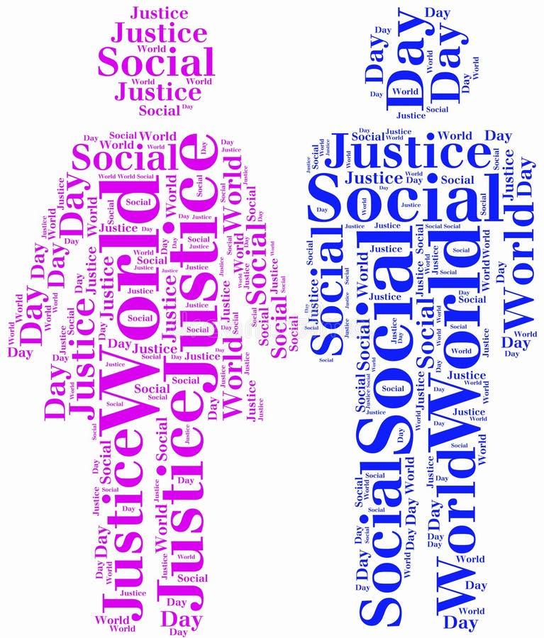 Etiquete ou exprima o dia do mundo da nuvem de justiça social relativo ilustração stock