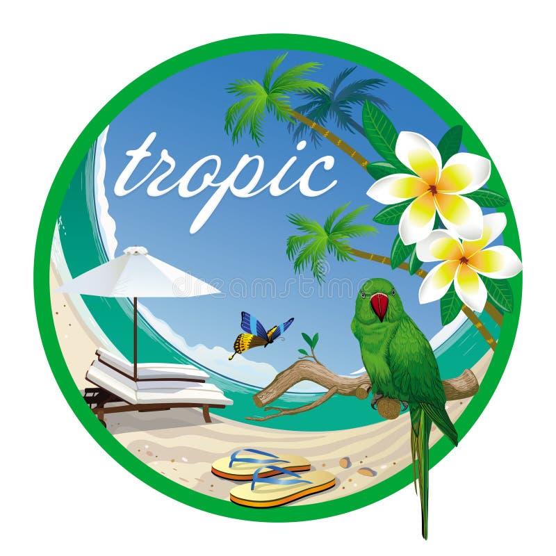 Etiquete a praia tropica, as orquídeas e o papagaio verde ilustração stock