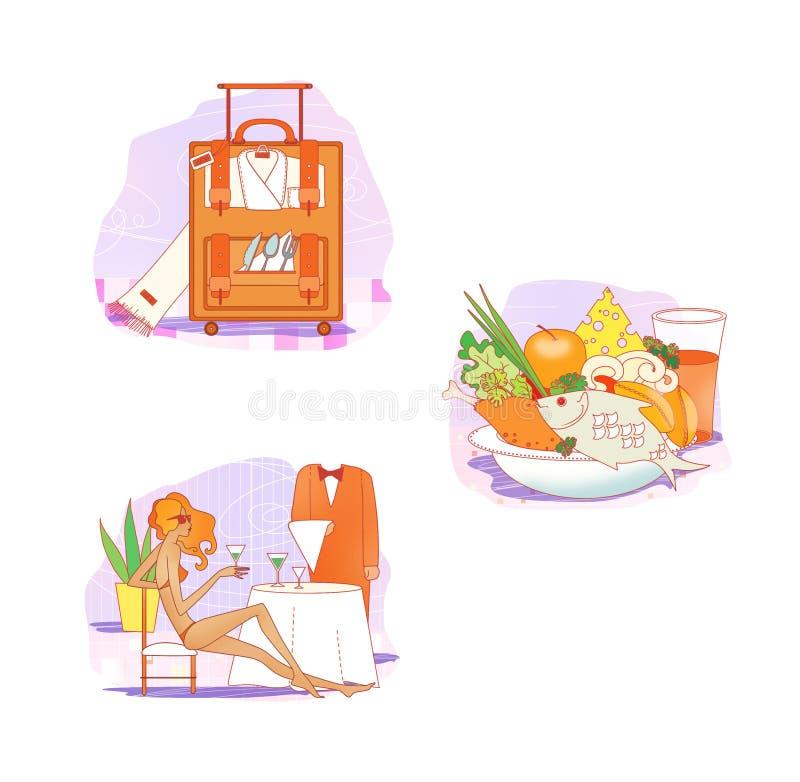 etiquette Roupa para o resto e o curso Roupa esperta e ocasional em ganchos Mala de viagem com roupa e pratos Uma menina em um ba ilustração royalty free