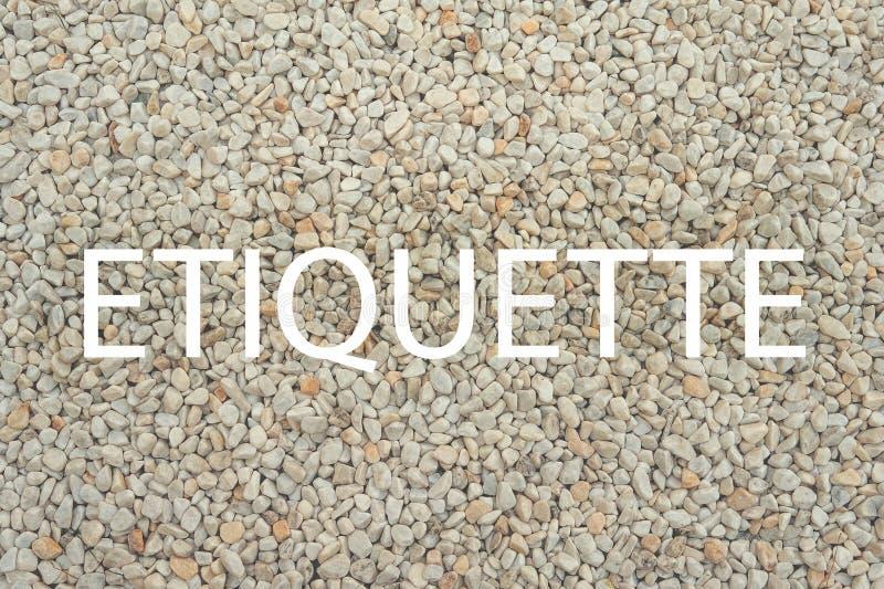 Etiquette - woord op steenachtergrond als spatie voor ontwerp royalty-vrije stock foto
