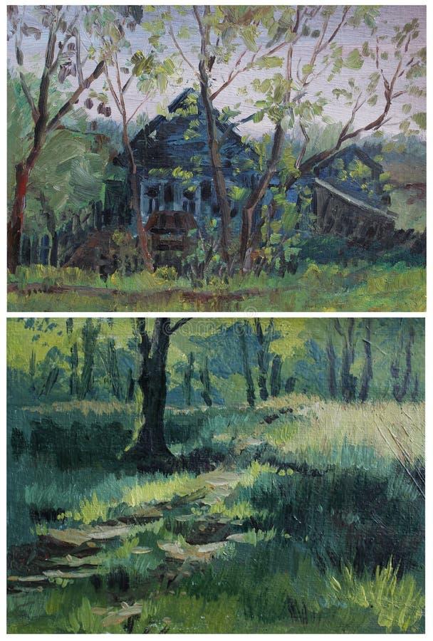 Etiud nafcianych farb krajobraz ilustracja wektor