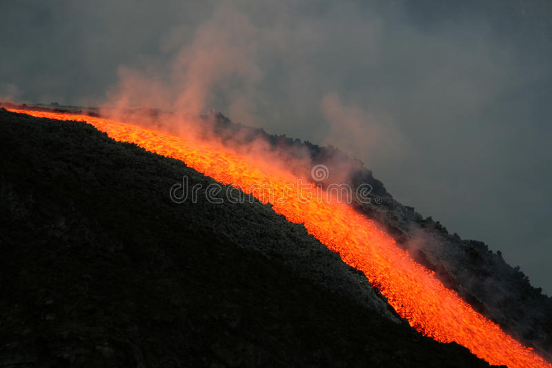 etna流熔岩火山 免版税库存图片