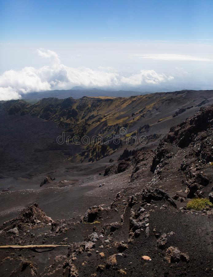 Etna火山的风景- Bove谷 库存照片